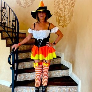 Halloween sexy candy corn witch costume
